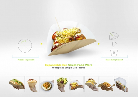 Gewinner des Verpackungsdesign-Wettbewerbs 'Better with Less – Design Challenge' ist 'Expandable Eco Street Food Ware' (Quelle: Metsä Board)